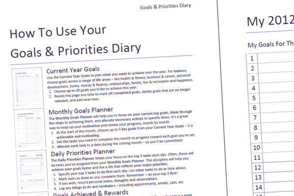 Goals and Priorities Diary