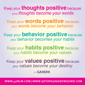 Keep your thoughts positive - Gandhi